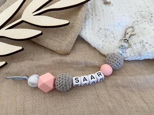 Sleutelhanger Rose Quartz Marble Grey