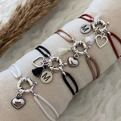 Armband Satijnkoord Boei Zilver