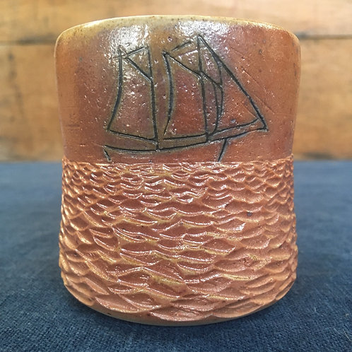 Woodfired ship cup with waves 3