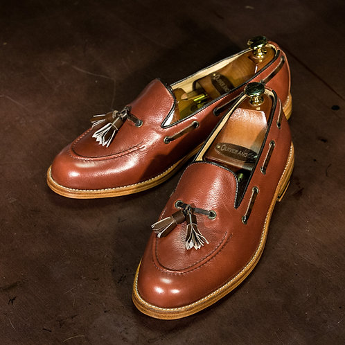 OC 008 - Tassel Loafers Grains in Mahogany Brown