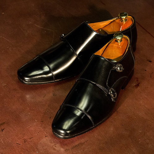 OC 010 - Double Monk Straps in Black (Square Toes)