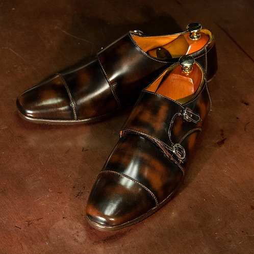 OC 010 - Double Monk Straps in Brown (Square Toes)