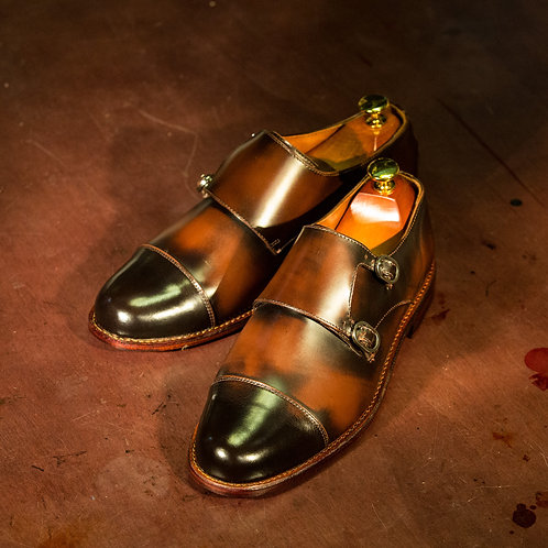 OC 001 - Double Monk Straps in Antique Brown