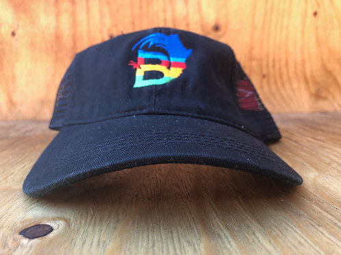 BambooAfrika black tropical trucker cap logo only