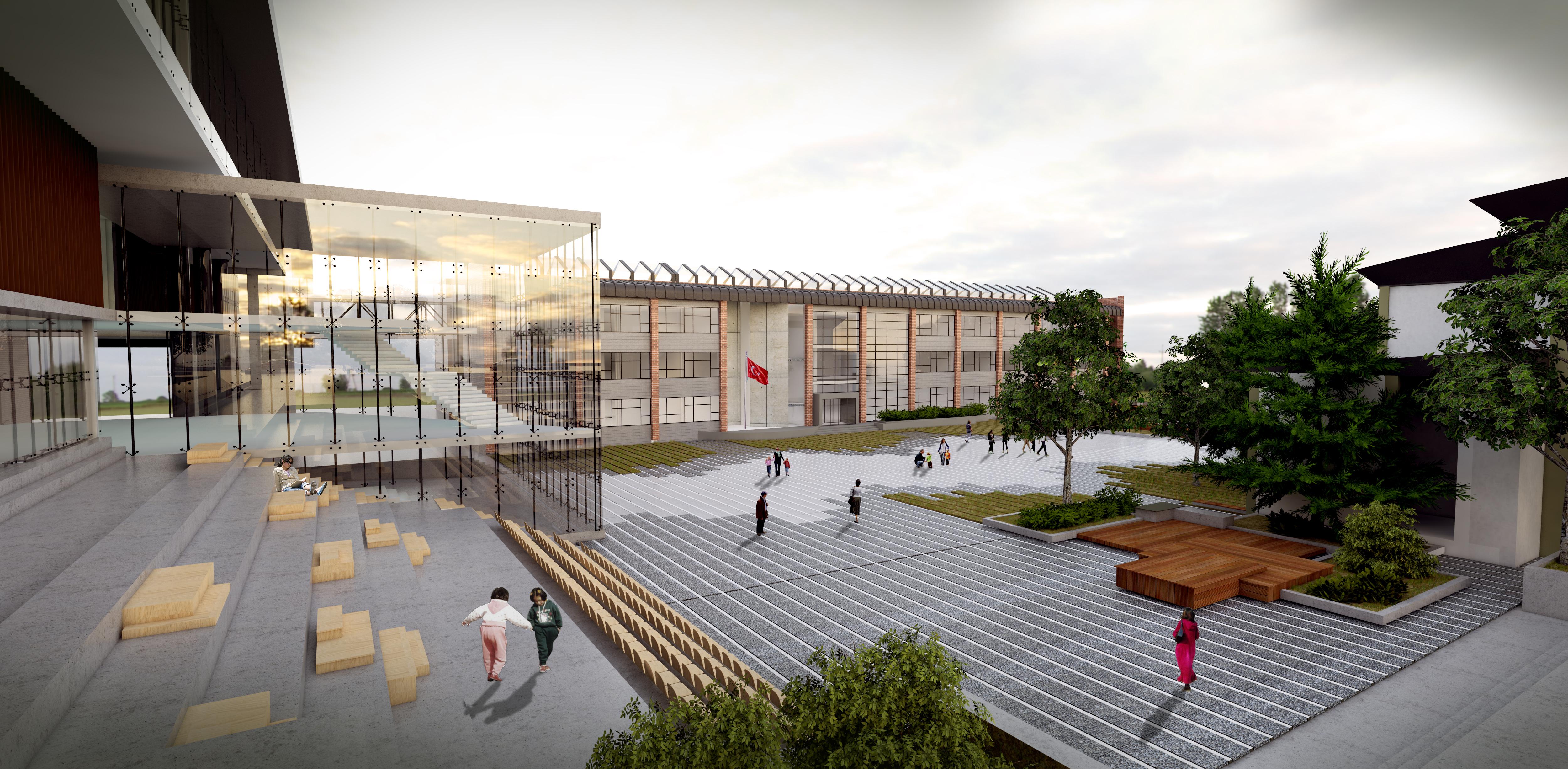 Açık Amfi, Kütüphane ve Lise Binası
