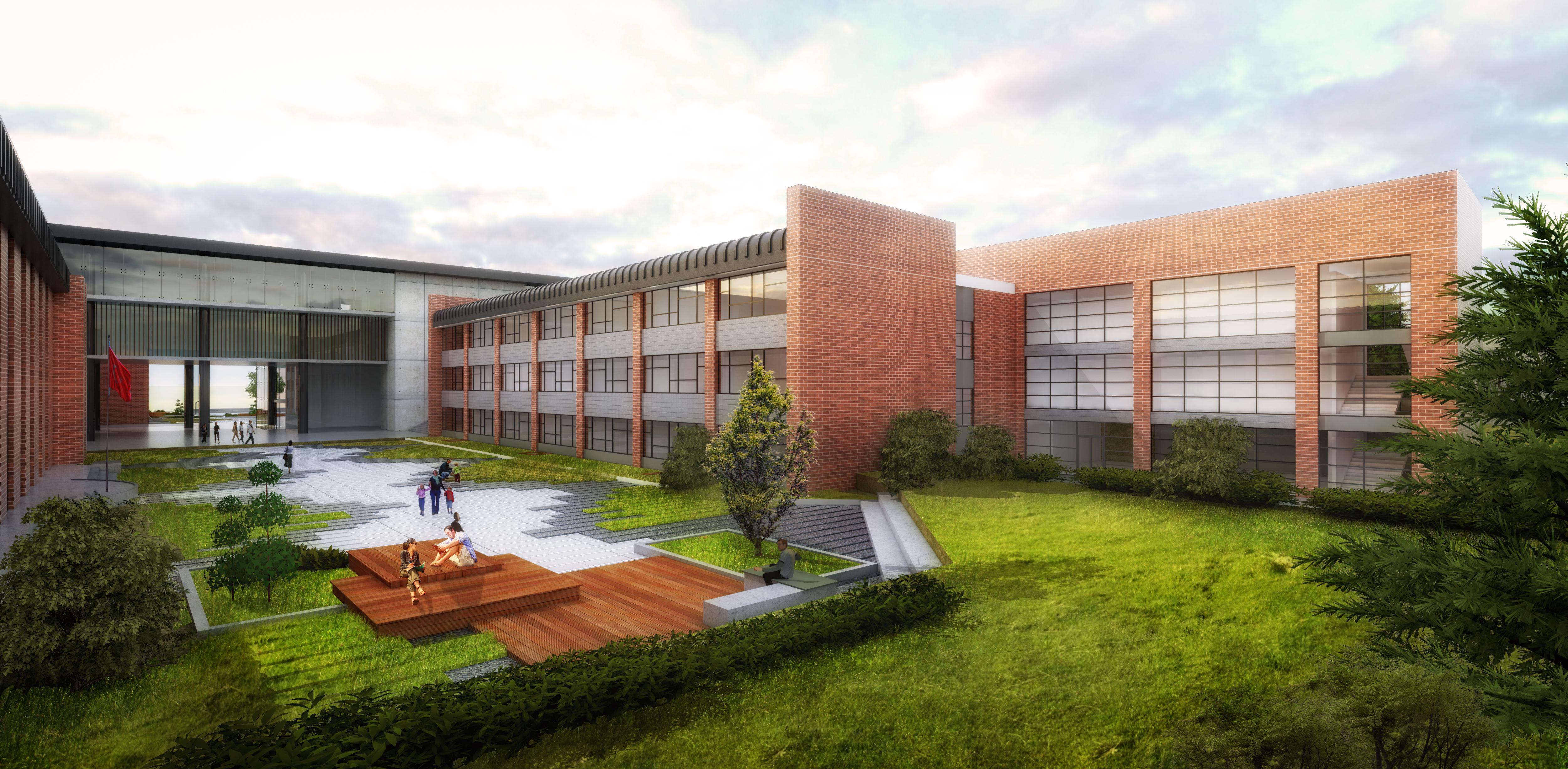 Ortaokul Avlusu ve İlkokul Binası