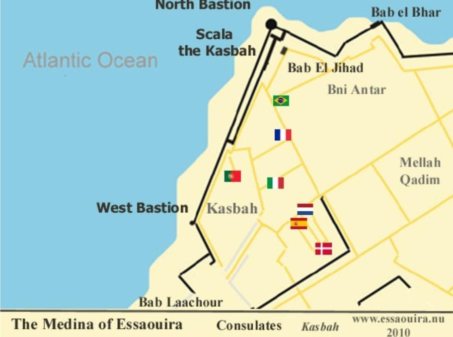 emplacement des 8 consulats / riad le consulat Essaouira / house to rent / Medina