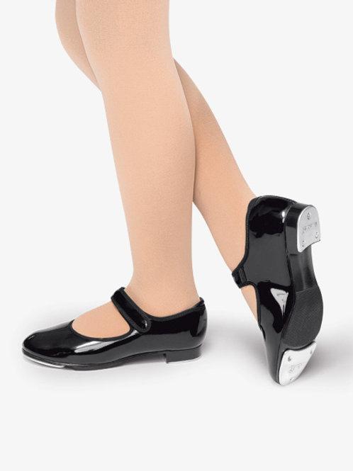 Child Black Velcro Tap Shoes