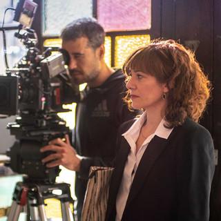 Bassas rodando la película La mujer ilegal