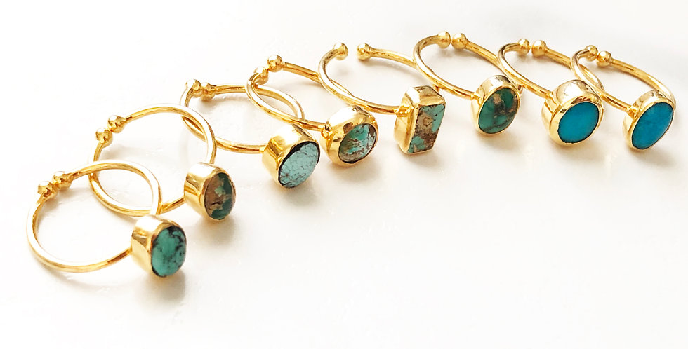 Small Turquoise Open Band Ring