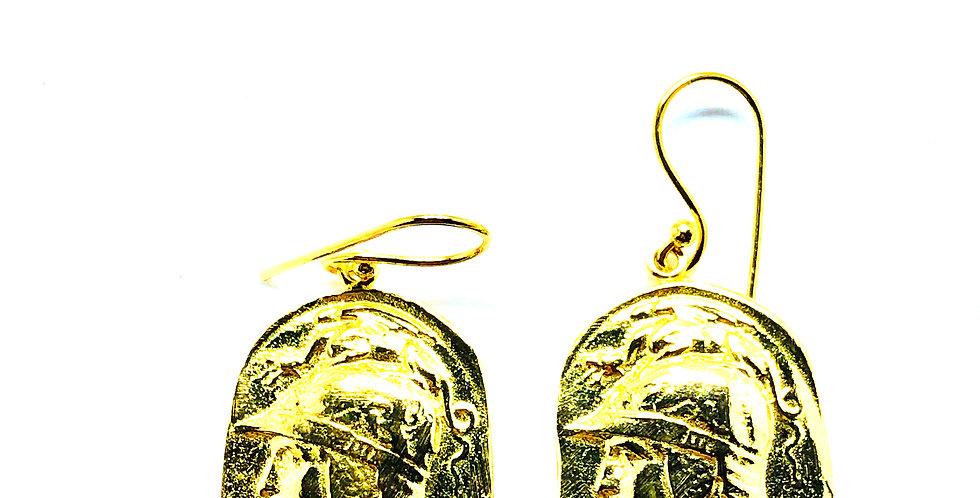 Big Vintage Gold Plated .925 Silver Hook Earrings