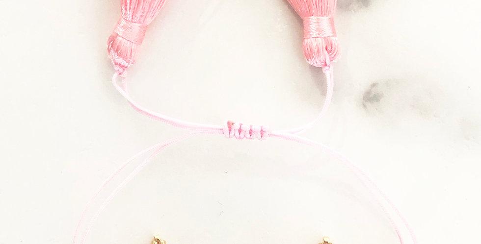 Pink Triple Star Fabric Bracelet