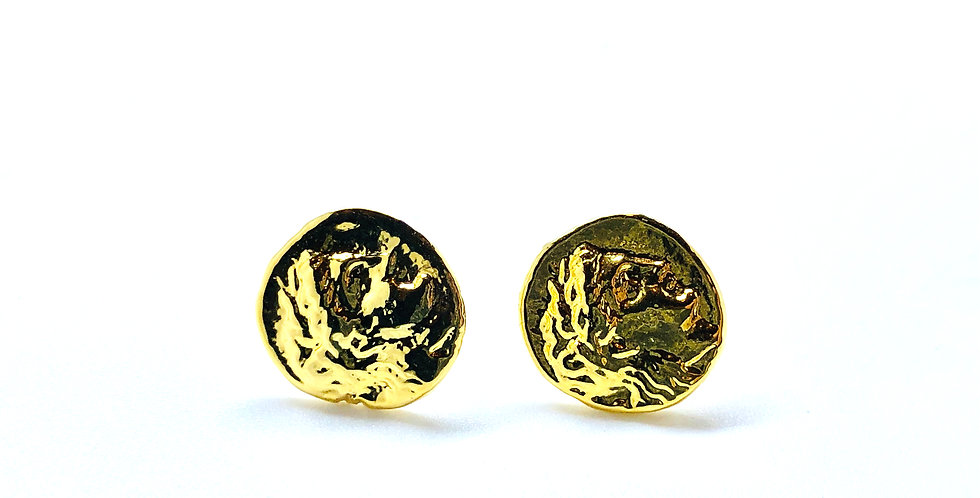 Small Roman Coin Gold over .925 Silver Stud Earrings