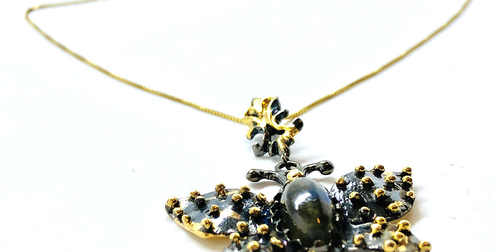 Butterfly with Labradorite Stone Gold over .925 Silver