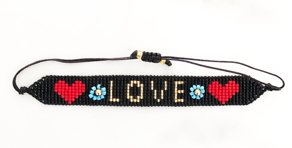 Love & Flowers Fabric Bracelet