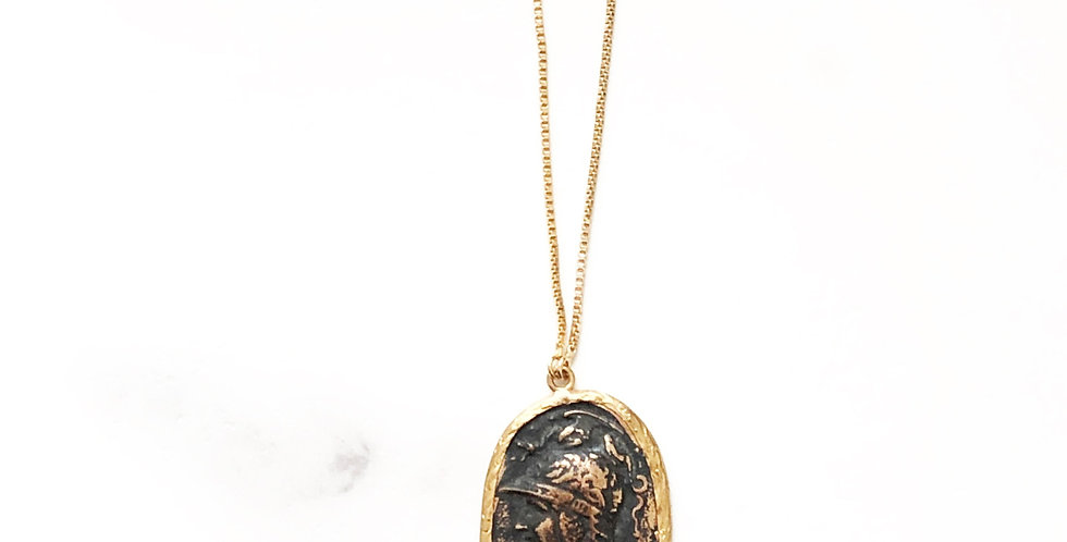Adjustable Rhodium Athena Face Coin Necklace