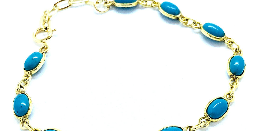 All Turquoise Beet Chain Bracelet