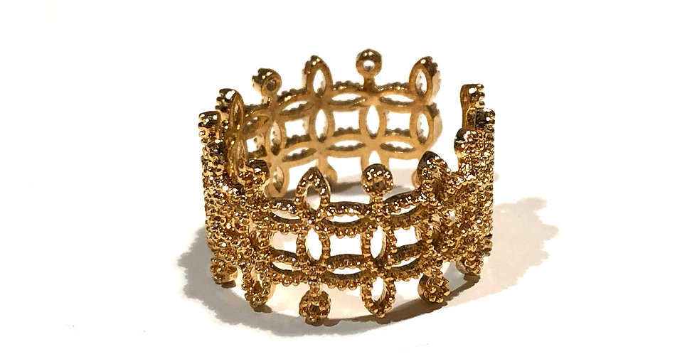 Crown Style Thick Ring - 18k gold plated over brass