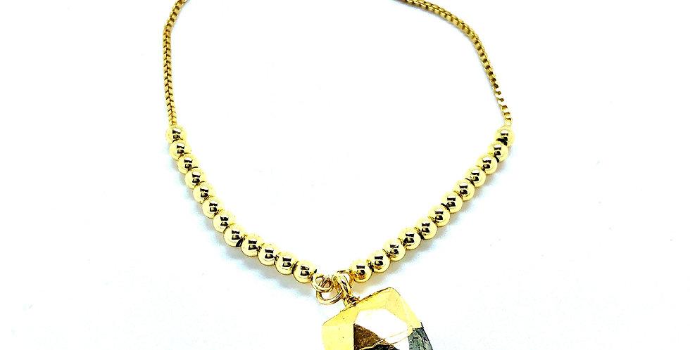 Pyrite Dagger Stone Chain Bracelet
