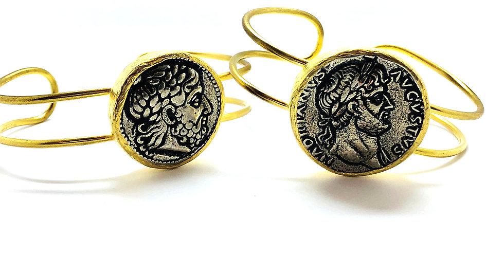 Roman Gold Coin Cuffs Bracelet