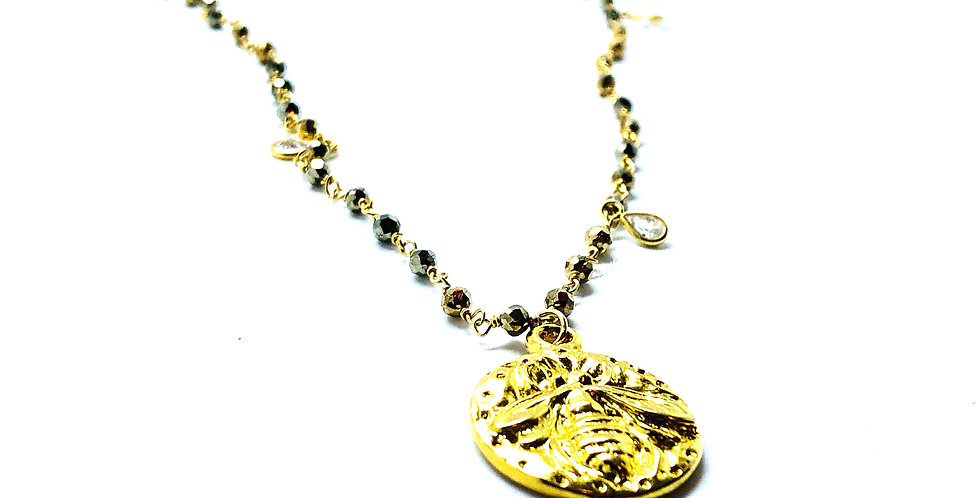 All Gold Pyrite and CZ Chain with Bumblebee Coin
