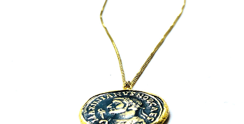 Two Tone Roman Coin On Adjustable Chain