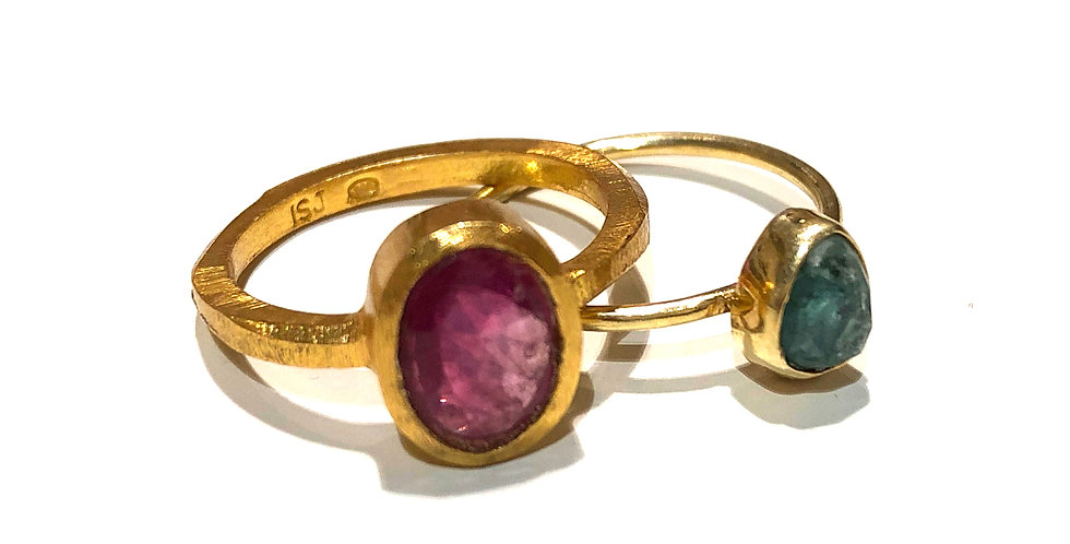 Stone Ring - multi color tourmaline 18k gold plated over brass