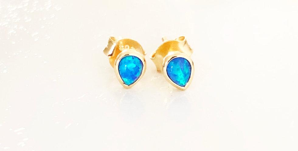 Dainty Blue Opal Studs
