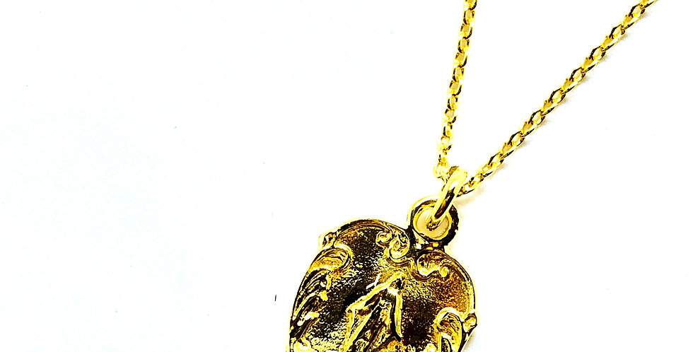Mary Pendant Gold over .925 Silver Necklace