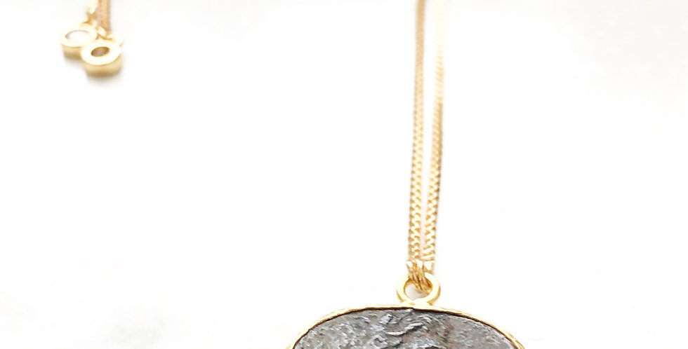 Adjustable Rhodium Perseus Face Coin Necklace