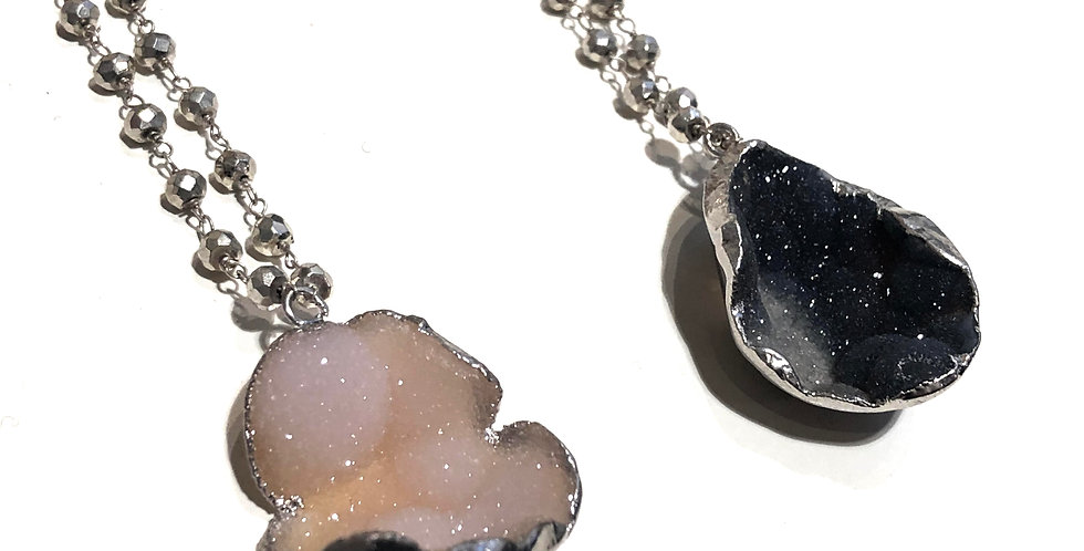 Silver Pyrite Long Chain with Geode Stone Necklace