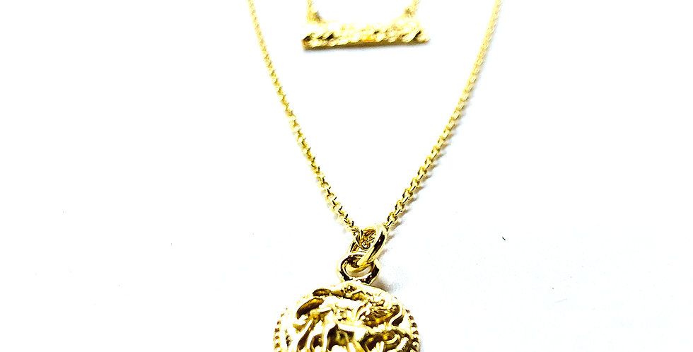 Double Coin Gold over .925 Silver Necklace