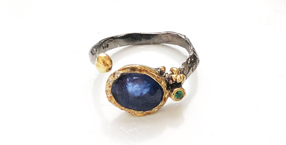 Single Blue Topaz Rhodium Ring