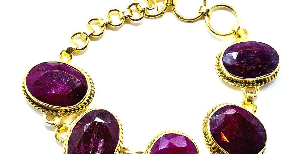 Big Multi Ruby Stones Bracelet