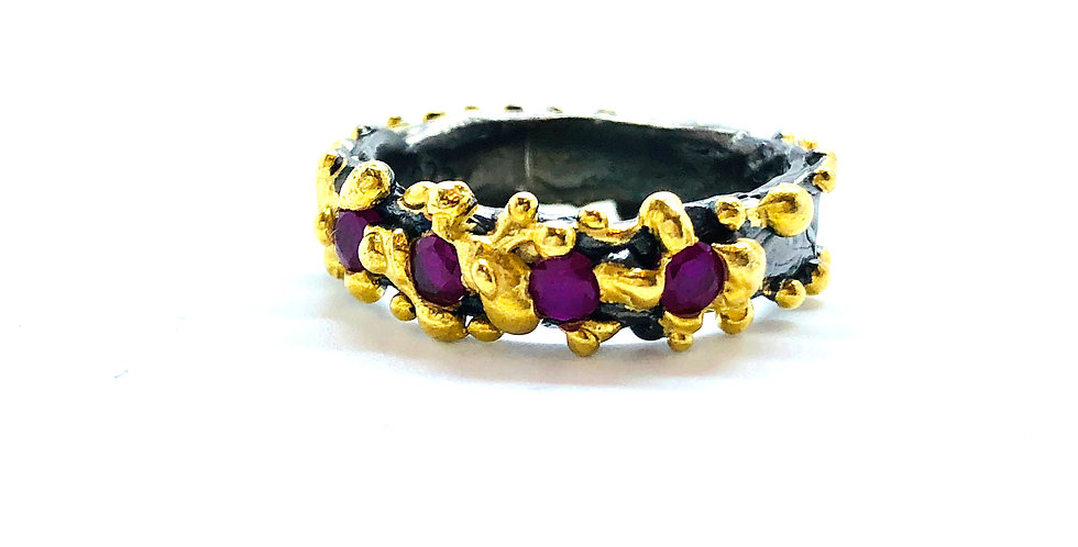 Multi Amethyst Stones Gold over .925 Silver Ring