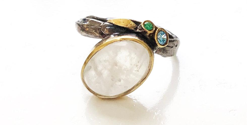 Single Big Moonstone w/ Small Stones Rhodium Ring