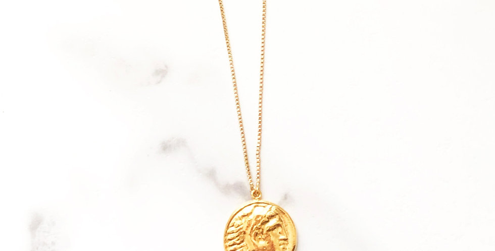 Adjustable Heracles (Hercules) Face Coin Necklace