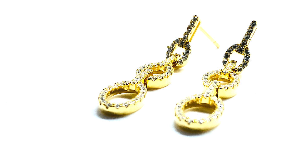 Triple Chain Gold over .925 Silver Earrings