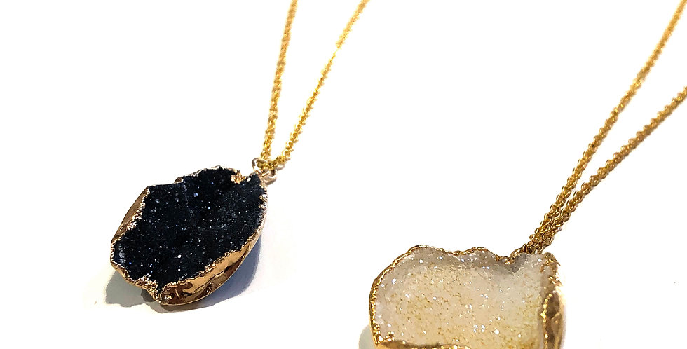 Long Geode Stone Necklace