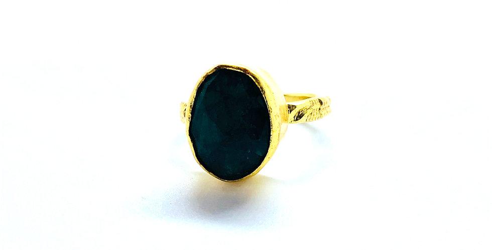 Black Onix Gold Band Ring