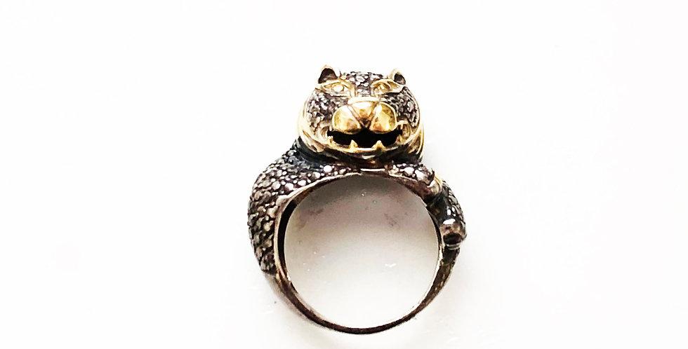 Big Cat Rhodium Ring
