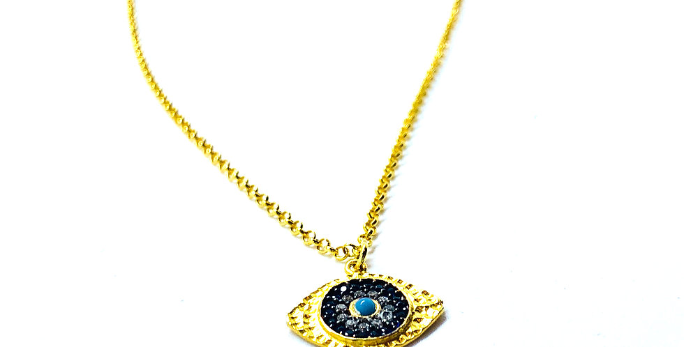 Evil Eye Coin Gold over .925 Silver Necklace