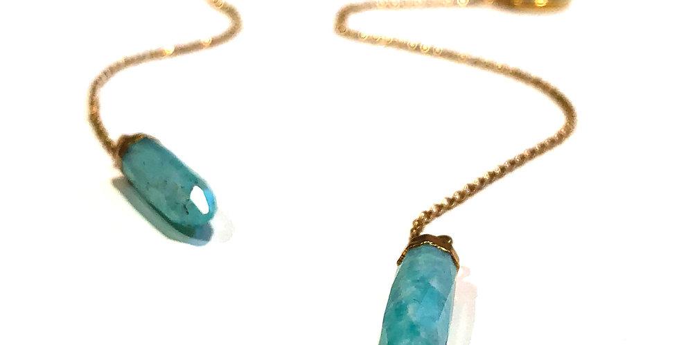 Long Dangle Amazonite w/Chain Earrings