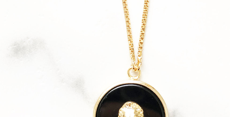 Adjustable Black Lion Face Necklace