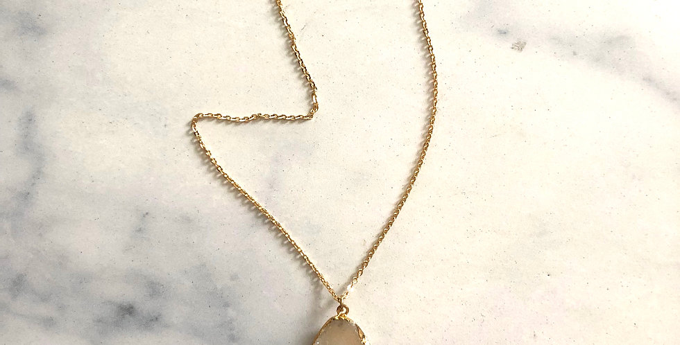 White Small Geode Stone Gold Plated Over .925 Silver Chain