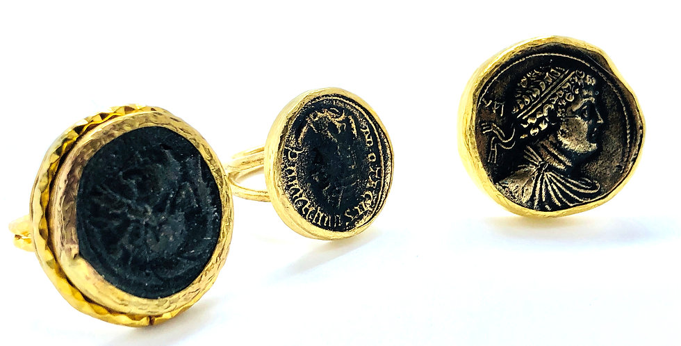 Roman Coin Two Tone Adjustable Ring