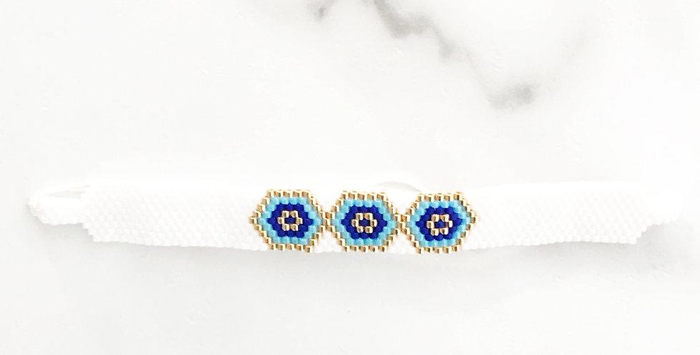 White Triple Evil Eye Fabric Bracelet