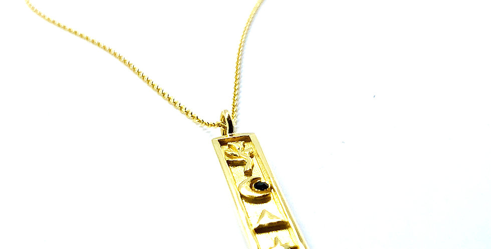 Elements Bar Gold over .925 Silver Necklace