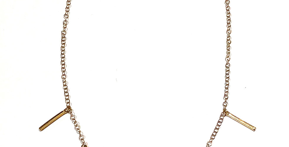Dangle Gold Bars Short Necklace - 18k gold plated over brass