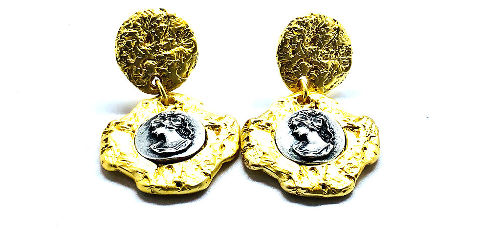 Hammered Two Tone Queen Earrings